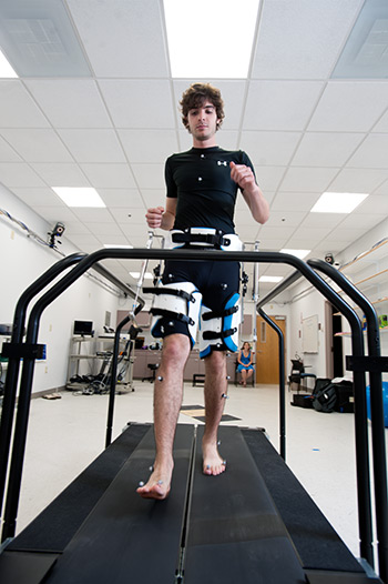 Research subject on treadmill wearing sensors