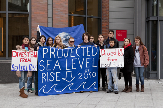 Divest BU, climate change action, sea level rise, Boston University student groups organizations
