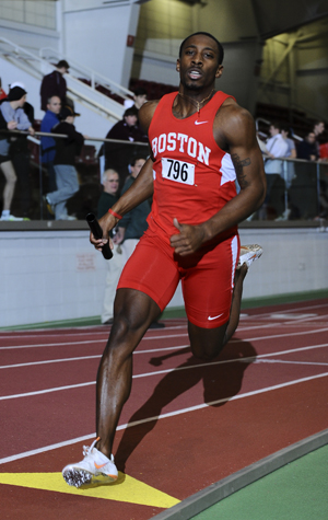 Boston University BU, student athlete RJ Page, sprinter track and field terrier, E. Ray Speare Award scholar athlete