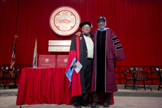 Schoold of Education Dean Hardin Coleman and Bill Cosby, Boston University 140th Commencement, School of Education SED convocation