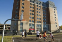 Boston University BU, School of Medicine BUSM, Albany Street medical student residence, Field of Dreams, basketball, gardening