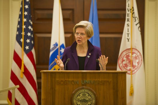Boston University BU, United States US demogratic senator Elizabeth Warren, education loan reform, academic research funding
