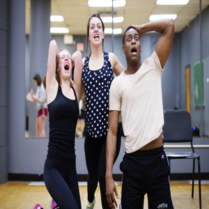 (left to right) Dana Dreyfuss (CFA 17), Maddie Sosnowski (CFA 17) and Aaron Dowdy (CFA 17) rehearse a scene during a movement and stage combat class on Tuesday, February 24, 2015  Photo By Jackie Ricciardi for Boston University Photography