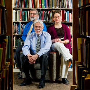 Librarians Jack Ammerman (from left), Robert Hudson, and Vika Zafrin say the new opt-out open access policy will benefit researchers, BU, and the public good. Photo by Cydney Scott