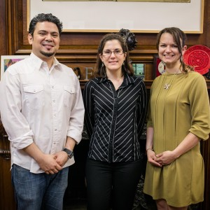 Kahn Award winners Josué Rojas (from left), Ivana Jasova, and Courtney Lynn Nelson will each receive $10,000 to help them transition into professional artistic careers. Photo by Dan Aguirre