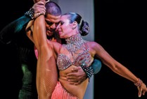 Vera Rowe dancing with her partner, Uriel Garcia