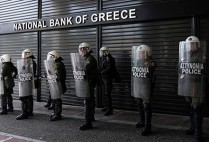 Police guarding a greek bank