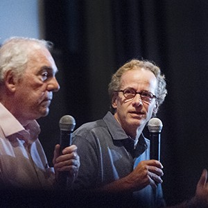 COM professor Dick Lehr and Gerard O'Neill  answer questions from students following a private screening of Black Mass in Boston on Thursday, September 17, 2015.   Photo By Jackie Ricciardi for Boston University Photography