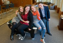 When Hillel House is a home: Erin Miller (CAS'17), chair of Hillel's student board (from left), Jordan Rozenfeld (Questrom'17), Brittney Badduke (COM'17), and Danny Hochberg (Questrom'16), at the Florence & Chafetz Hillel House. Photos by Cydney Scott