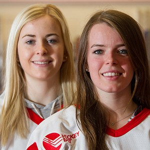 Forward right wing Rebecca Leslie (Questrom'18), left, and forward center Victoria Bach (CGS'18) of BU women's ice hockey players.