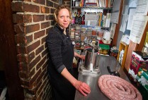 Julie Biggs (MET'08) is a sausage maker, among other things, for Formaggio Kitchen in Cambridge.