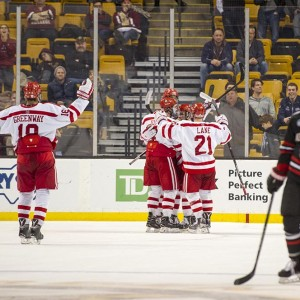 Boston University BU Men's Hockey wins against Northeastern in the 2016 Beanpot Tournament