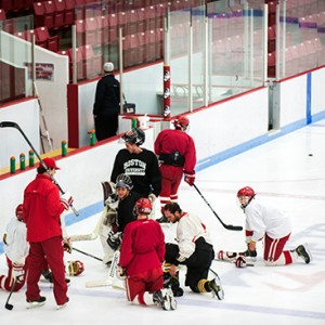 The BU club hockey team players practicing at Walter Brown Arena before heading to their first-ever national tournament. Photos by Jackie Ricciardi