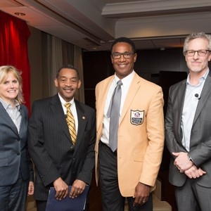 Neurologist Ann MCKee, Assistant Secretary of Defense for Health Affairs Jonathan Woodson, NFL Hall of Famer Mike Haynes. Bob Tedeschi (far right), senior writer for STAT, the online health and life-sciences publication.