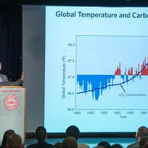 Professor Anthony Janetos gives a presentation at the BU ACSRI Forum on Climate Change Adaptation and Mitigation