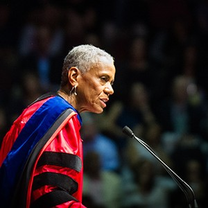 Andrea Taylor, President and CEO of Birmingham Civil Rights Institute and Boston University Trustee, at the 2016 College of Communication Convocation during the 143rd Commencement of Boston University