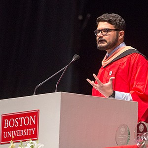 Faiz Kidwai delivers the student speech at the Boston University School of Public Health Convocation 2016