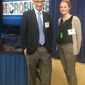 Professor Daniel Segrè and PhD candidate Allyson Byrd at the White House launch of the National Microbiome Initiative