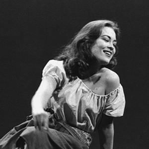 Faye Dunaway performs as a character in the stage production Yerma at Boston University Theatre, 1961