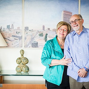 Carmela and Menachem Abraham at their home in Boston