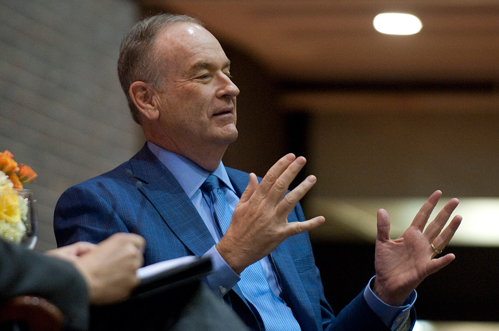 Bill O'Reilly speaks during an appearance at Boston University