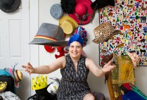 Caroline Moore-Kochlacs (GRS'16) with a small selection of the hats she has worn or plans to wear
