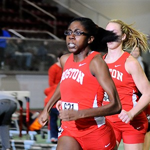 Olympic track and field athlete Gemma Acheampong competes in a race during her time as a member of the Boston University track team