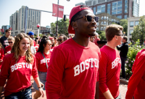 Incoming freshmen march down Commonwealth Avenue during the ceremonial procession to the 2016 Boston University Matriculation Ceremony