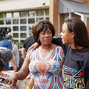 a mother says good-bye to her daughter on Move-in Day