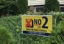 "Sign on Lawn says ""Vote no on 2"""