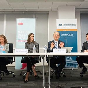 Elizabeth Grossman, Lauren Lockwood, Azer Bestravos, and Daniel Castro discuss smart cities at a panel discussion in Washington