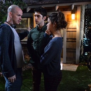 Peter Paige directing actors David Lambert and Maia Mitchell