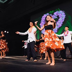 BU's Hawaiian Cultural Association members perform a hula at last year's lu'au