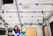 PhD candidate Emily Lam works with smart lighting sensors as part of Thomas Little's research with the Lighting Enabled Systems & Applications Engineering Research Center (LESA ERC)