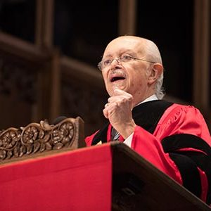 Winner of Nobel Prize in Chemistry, Mario Molina, delivers the Baccalaureate Address at the 2017 BU Commencement