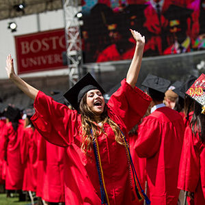 Class of 2017 graduating senior Anai Sanchez celebrates during the 2017 BU Commencement ceremony