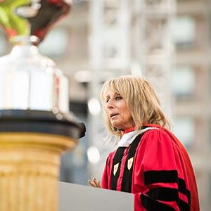 Bonnie Hammer, chair of NBCUniversal Cable Entertainment Group, delivers the commencement address at the 2017 BU Commencement