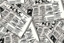 Graphic illustration of a pile of newspapers