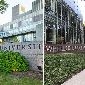 Composite image showing signs at Boston University and Wheelock College