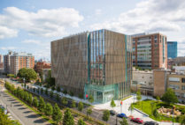Aerial photo of the Rajen Kilachand Center for Integrated Life Sciences & Engineering science building at Boston University