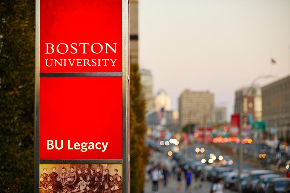A Boston University sign on the BU Charles River Campus