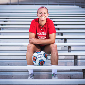 BU women's soccer tri-captain Rachel Bloznalis (Sargent'17, SPH'19) overcame an injury-sidelined sophomore season to lead the Terriers this year.