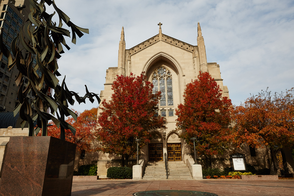 An Autumn view of Marsh Plaza and Marsh Chapel at Boston University