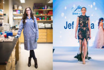 BU postdoctoral researcher Susan Finkbeiner in her lab, and on the runway during London Fashion Week in September.