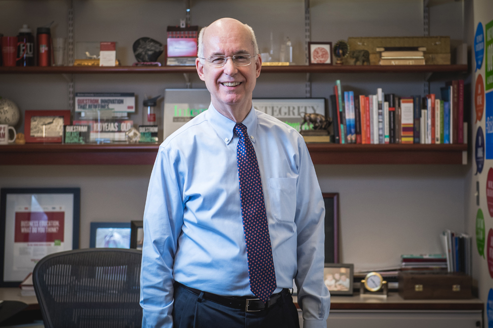 Dean of BU's Questrom School of Business, Kenneth Freeman, pictured in his office.