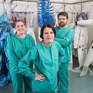 Biosafety Level 4 (BSL-4) researchers at Boston University's National Emerging Infectious Diseases Laboratories (NEIDL) Judith Olejnik, Elke Mühlberger, and Adam Hume