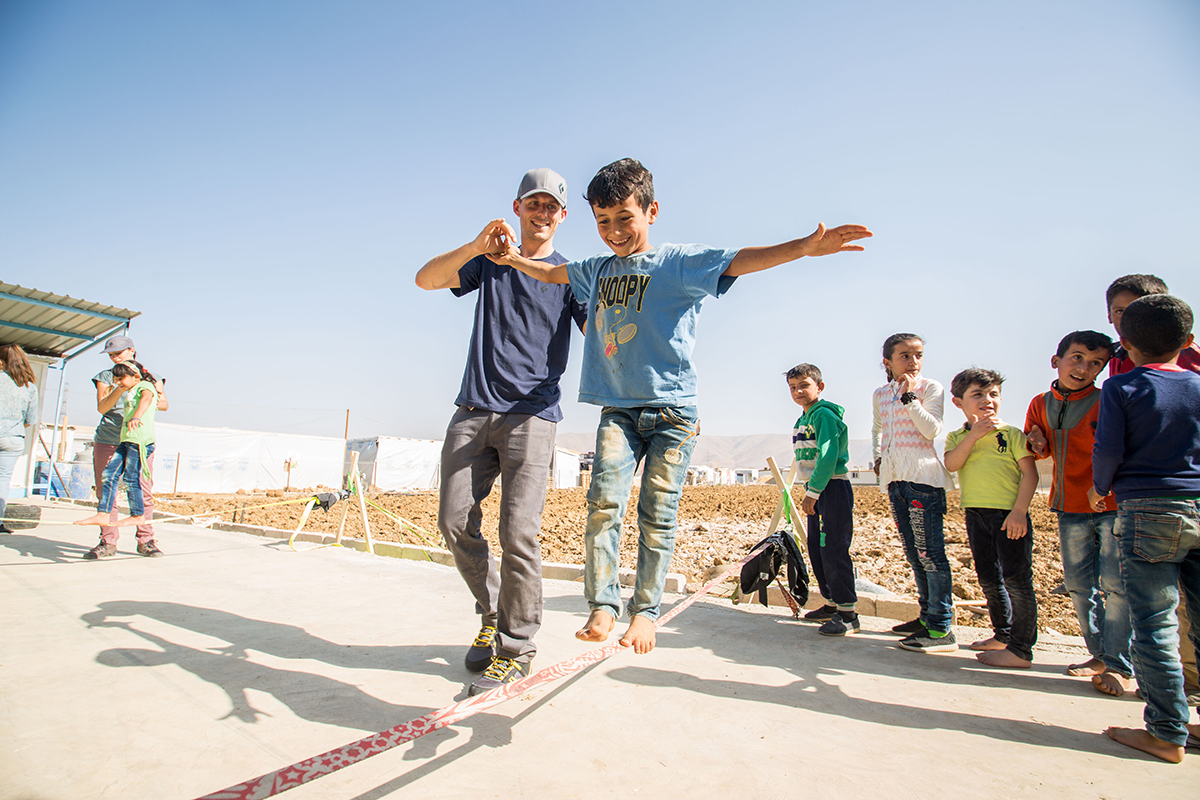Teachers from Crossing Lines teach slacklining to Syrian refugees in Lebanon