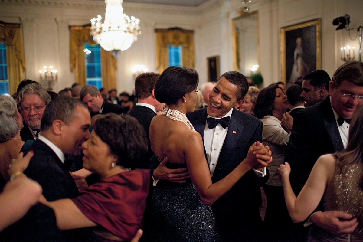 Photograph taken by official White House photographer Pete Souza of President Barack Obama and First Lady Michelle Obama at a White House dinner for US governors