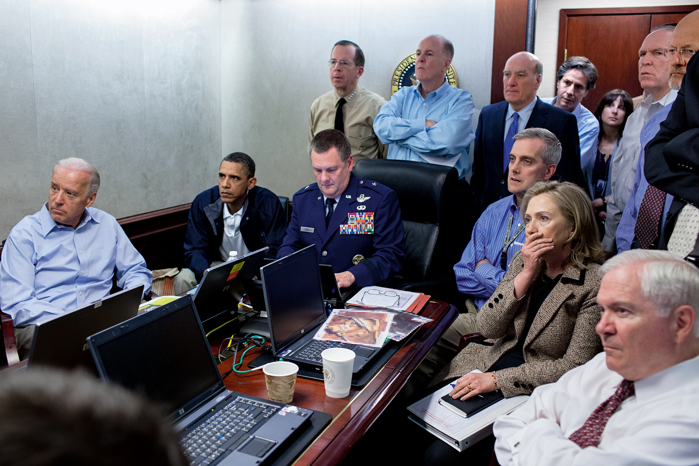 Photograph taken by official White House photographer Pete Souza of President Barack Obama, Vice President Joe Biden, and members of the national security team in the White House Situation Room watching in suspense as Navy SEALs raid Osama bin Laden's secret compound in May 2011.