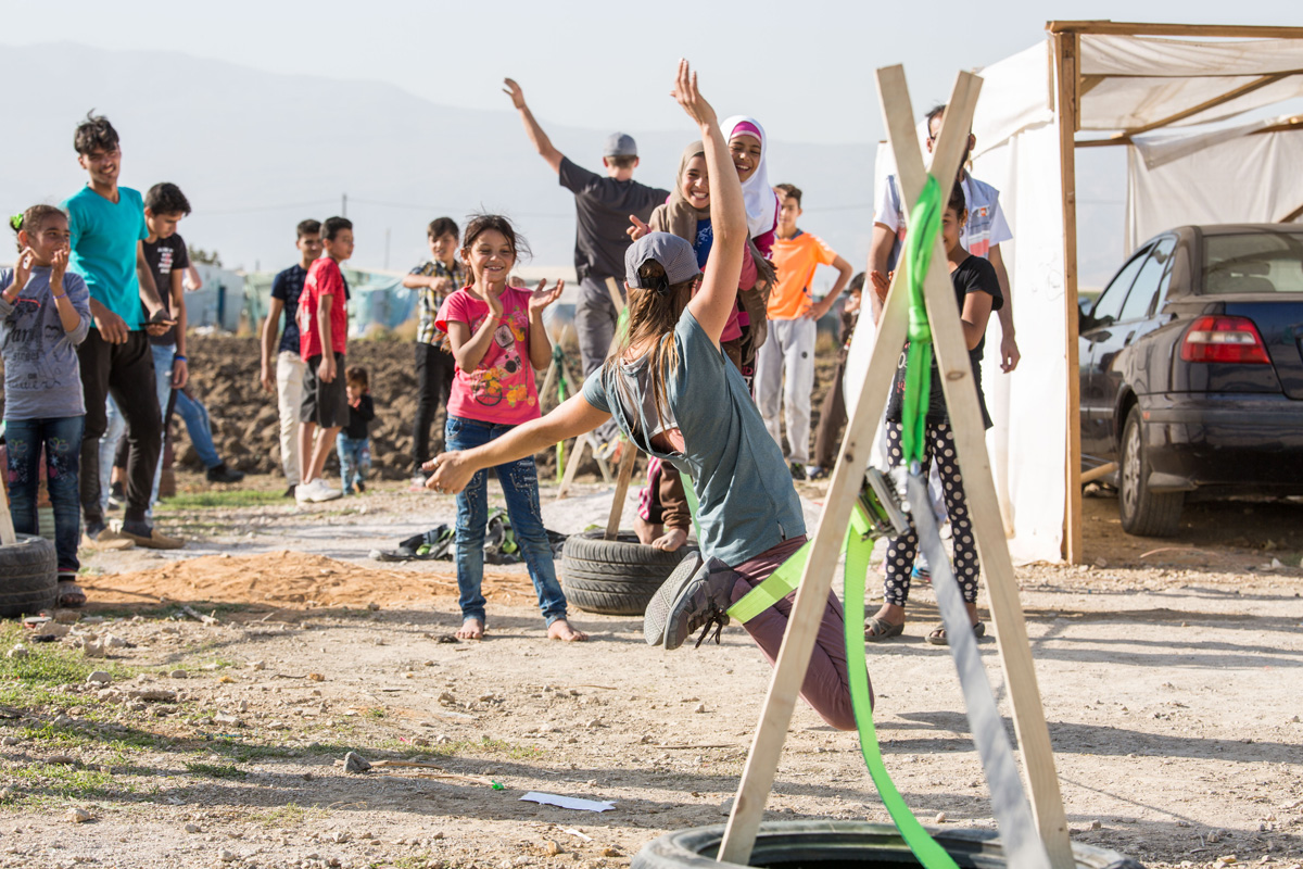 Slacklining with Syrian refugees in the Bekaa Valley in Beirut, Lebanon